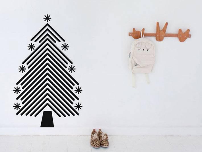 новогодняя елка-наклейка на стену фото