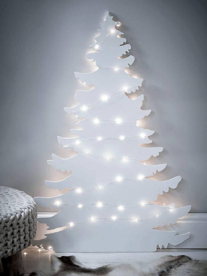 картонная новогодняя елка в интерьере фото