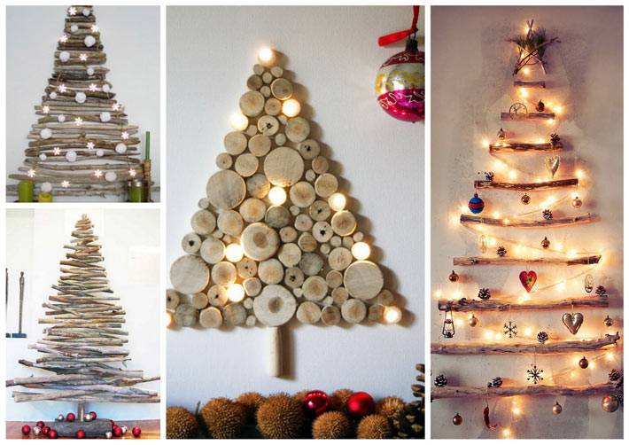 разные виды самодельных новогодних елок в интерьере