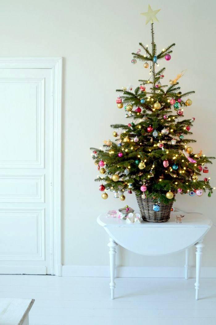 маленькая новогодняя елка украшена разноцветными шарами
