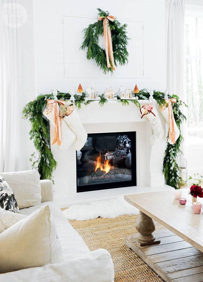 новогоднее украшение камина и каминной полки елевыми ветками