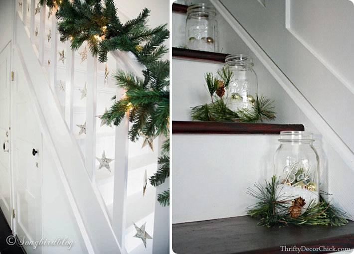 хвоя для новогоднего украшения лестницы в доме