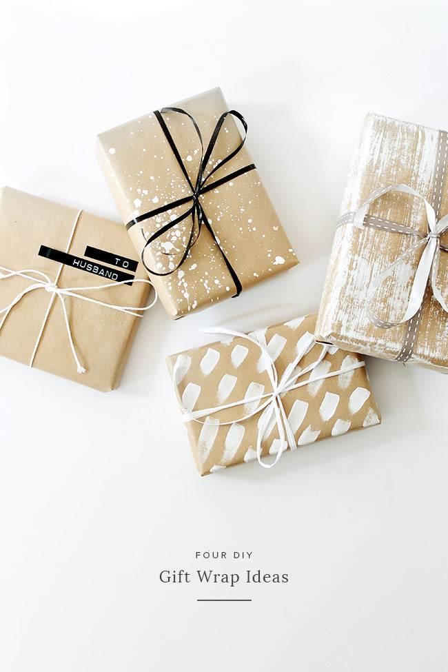 упаковка новогодних подарков крафт бумагой