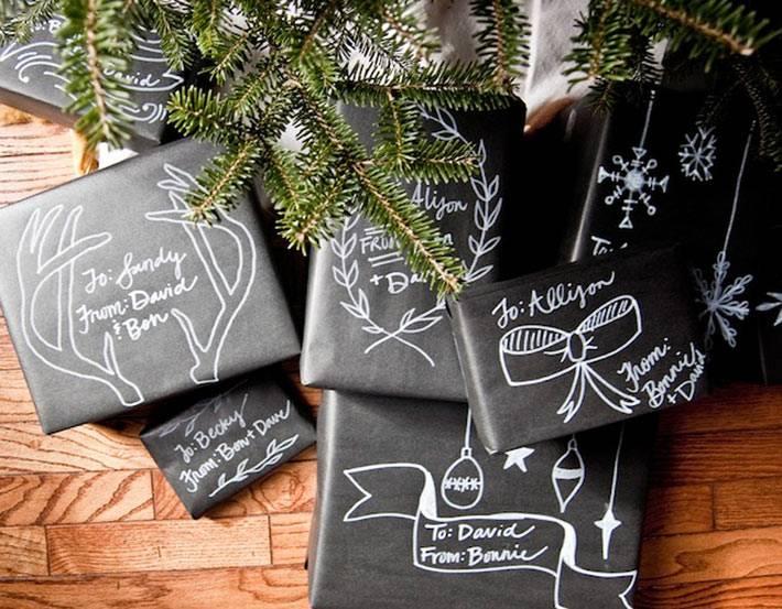 черная бумага для упаковки новогодних подарков фото