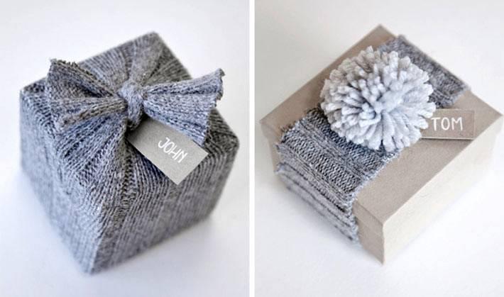 вязаный декор в упаковк новогодних подарков