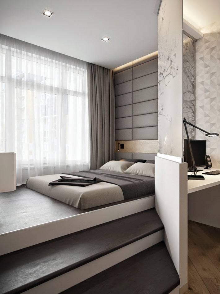 спальня на подиуме в однокомнатной квартире фото