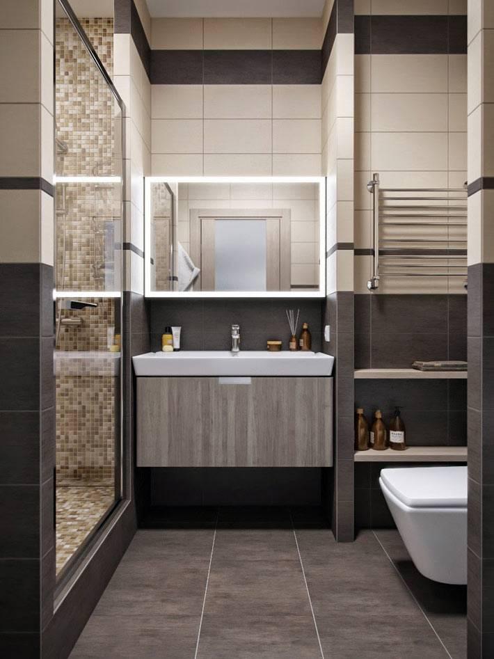 компактная ванная комната с душевой кабиной