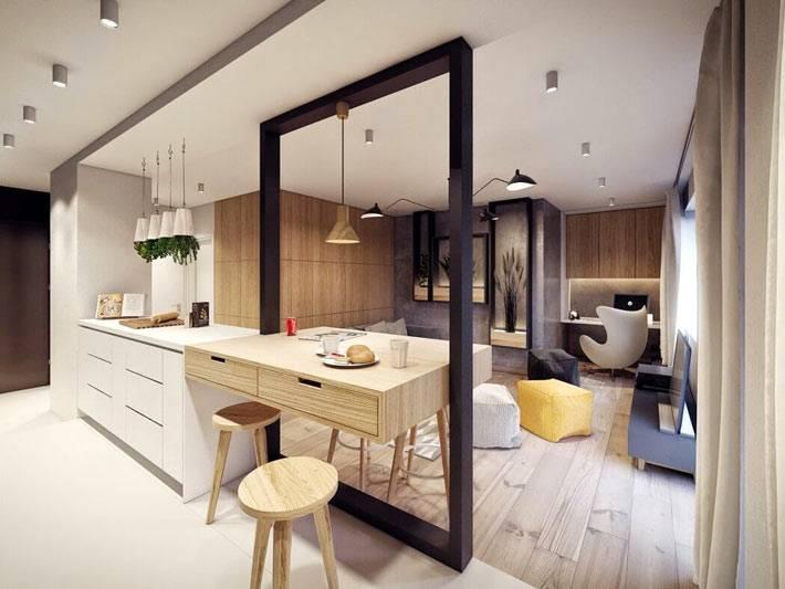 открытая планировка гостиной и кухни разделена перегородкой