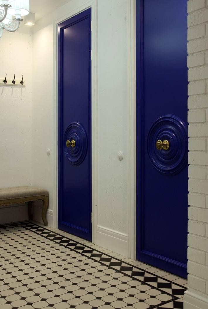 темно-синий цвет дверей и белые стены в квартире фото