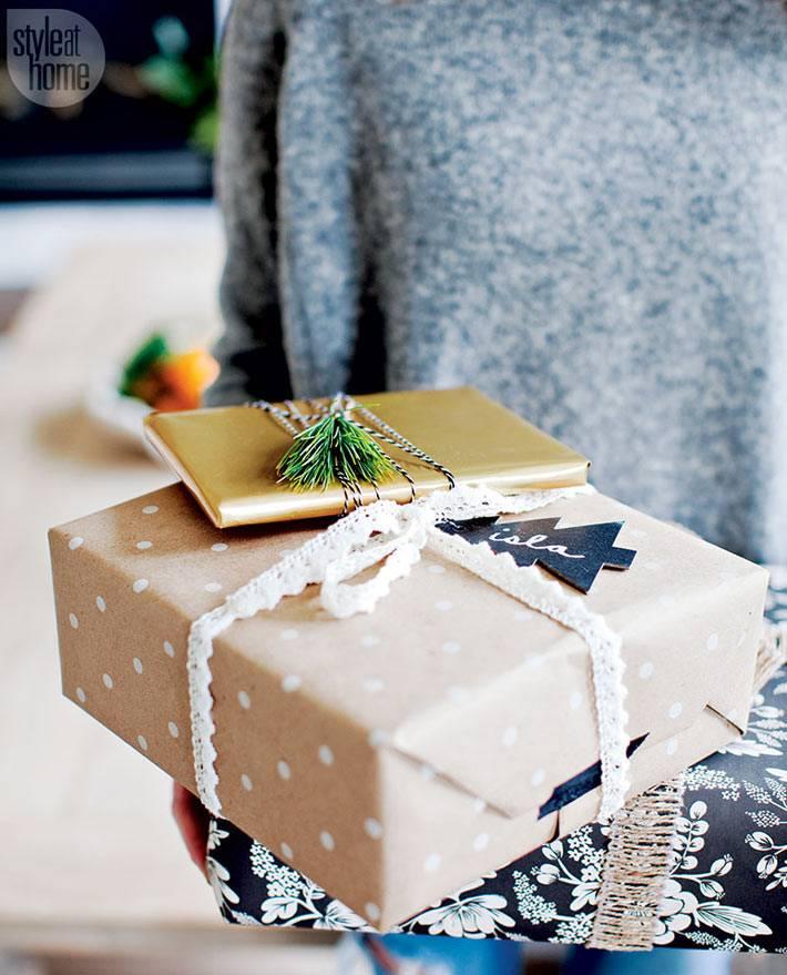 крафтовая бумага для упаковки новогодних подарков фото