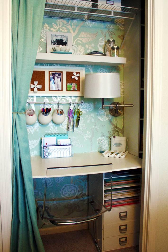 красивый и удобный шкаф, оборудованный в шкафу