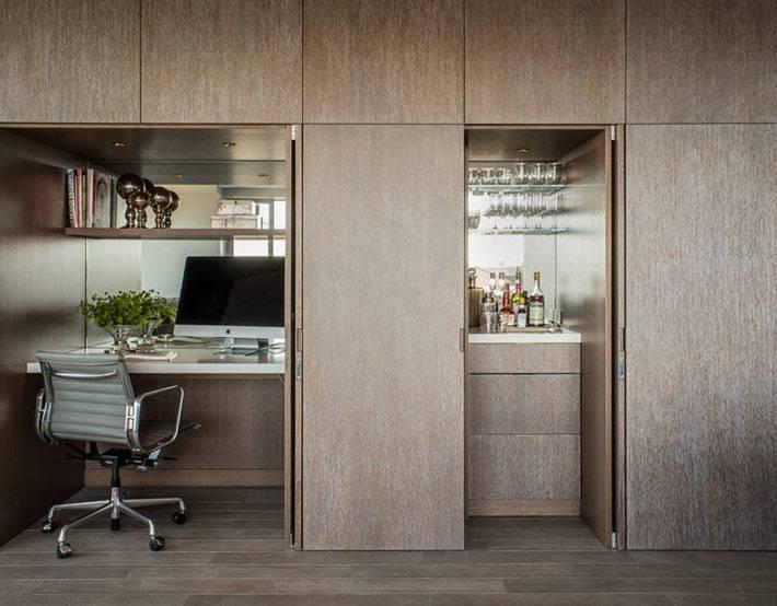 шкаф с домашним офисом в стиле минимализм