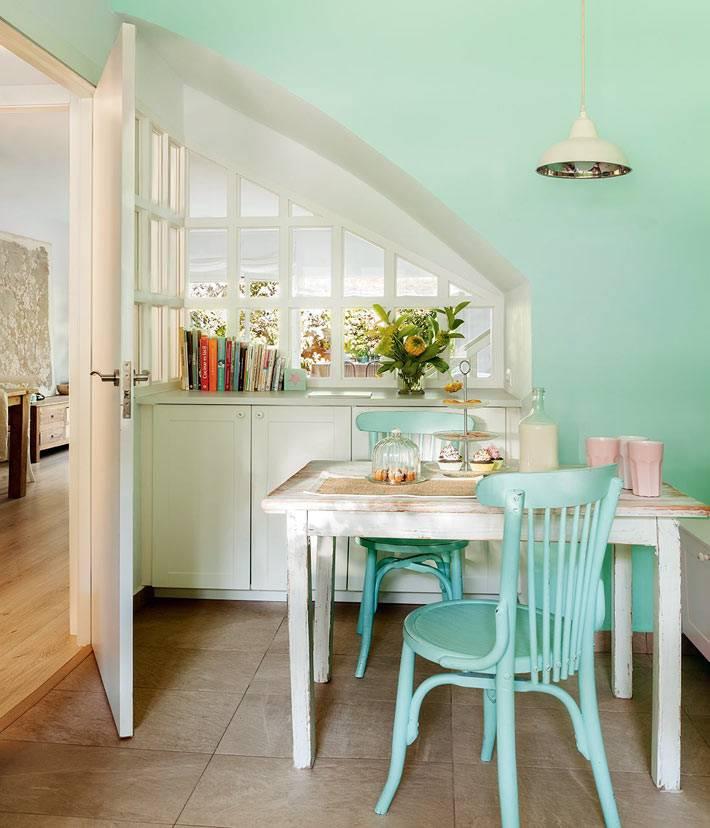 мятные и бирюзовые оттенки в интерьере кухни
