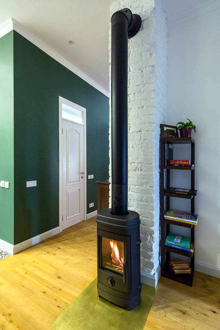 Современная печь-камин с живым огнем в квартире фото
