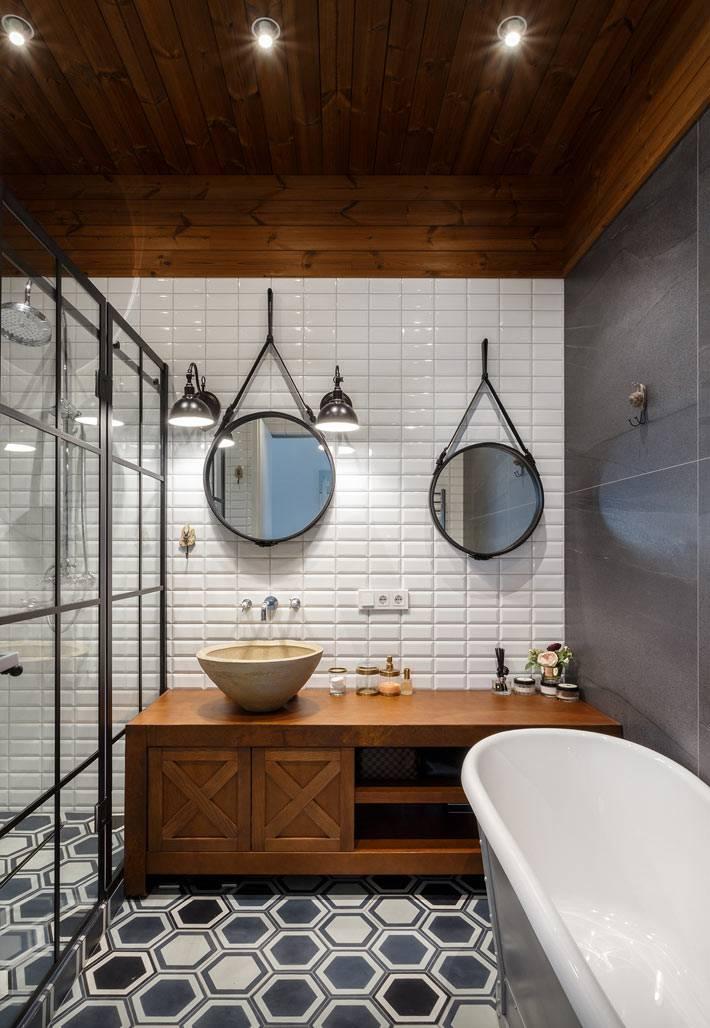 разная плитка и красивый умывальник в дизайне ванной
