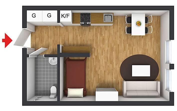 схема расположения комнат в маленькой квартире