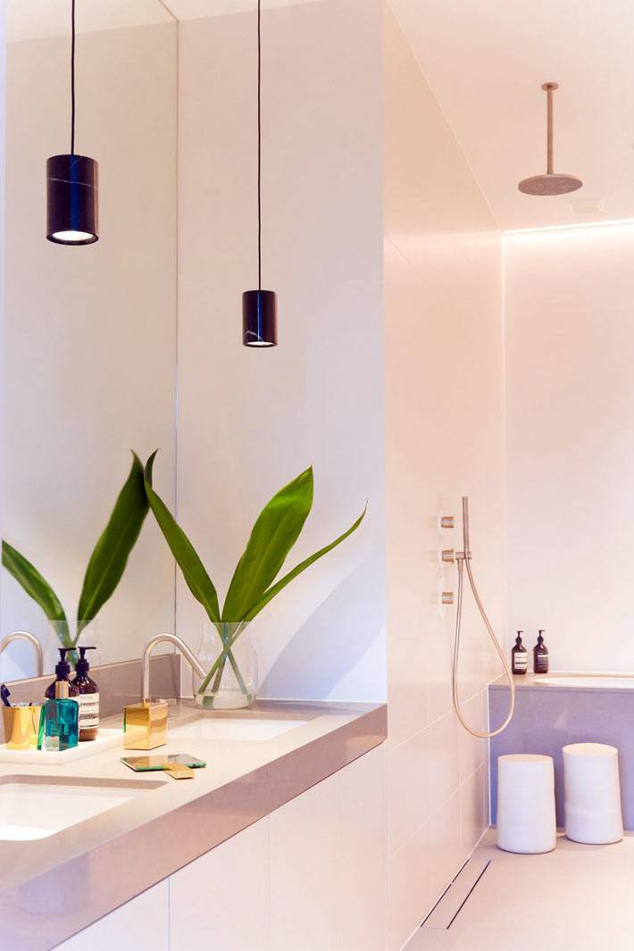 Цветок в красивой минималистичной ванной комнате фото