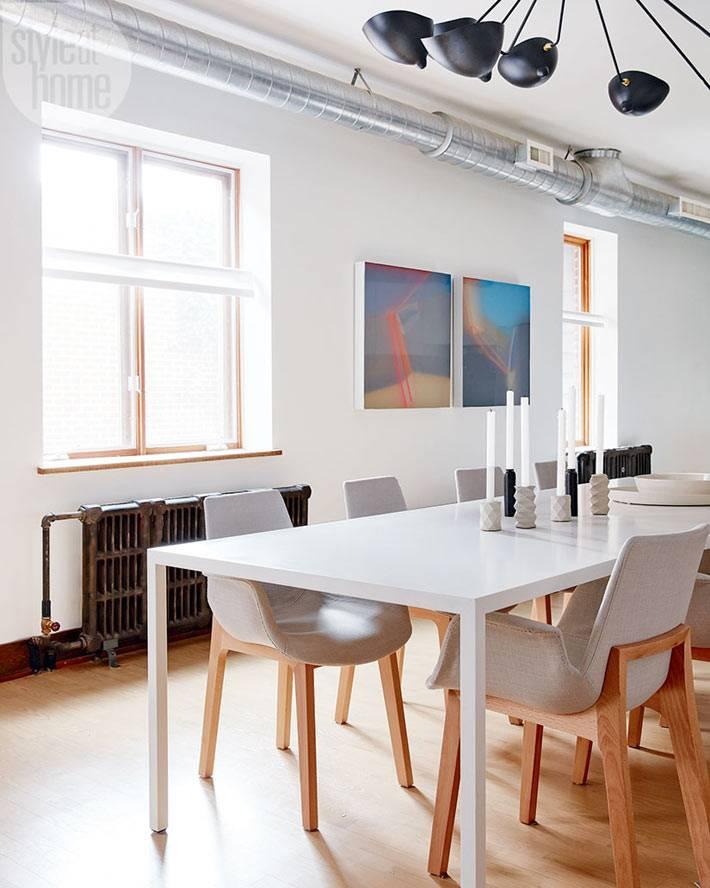 Дизайн обеденной зоны в индустриальном стиле фото