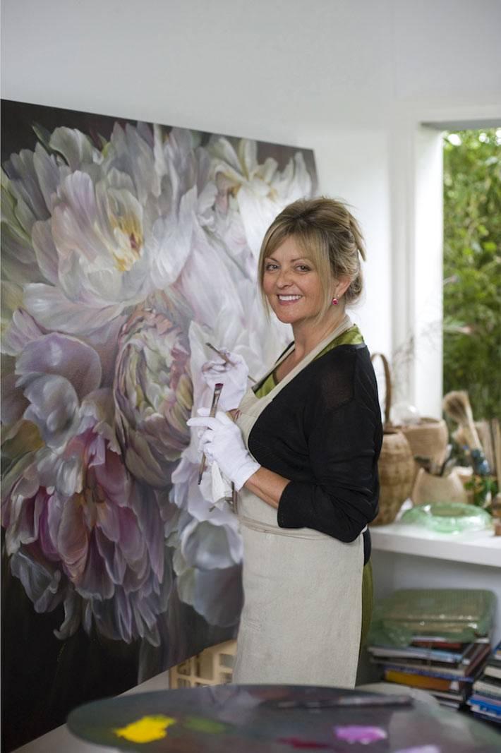 красивые картины с цветами пионами от художницы Marcella Kaspar