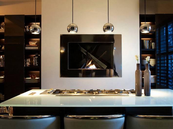 Современный дизайн интерьера со встроенным камином фото