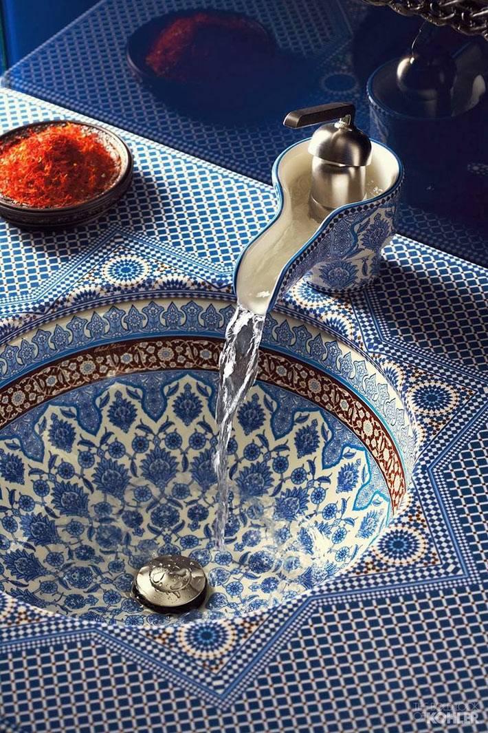 Красивая марокканская раковина для ванной комнаты фото