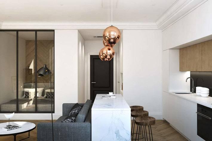 Компактный интерьер однокомнатной квартиры с нишей фото