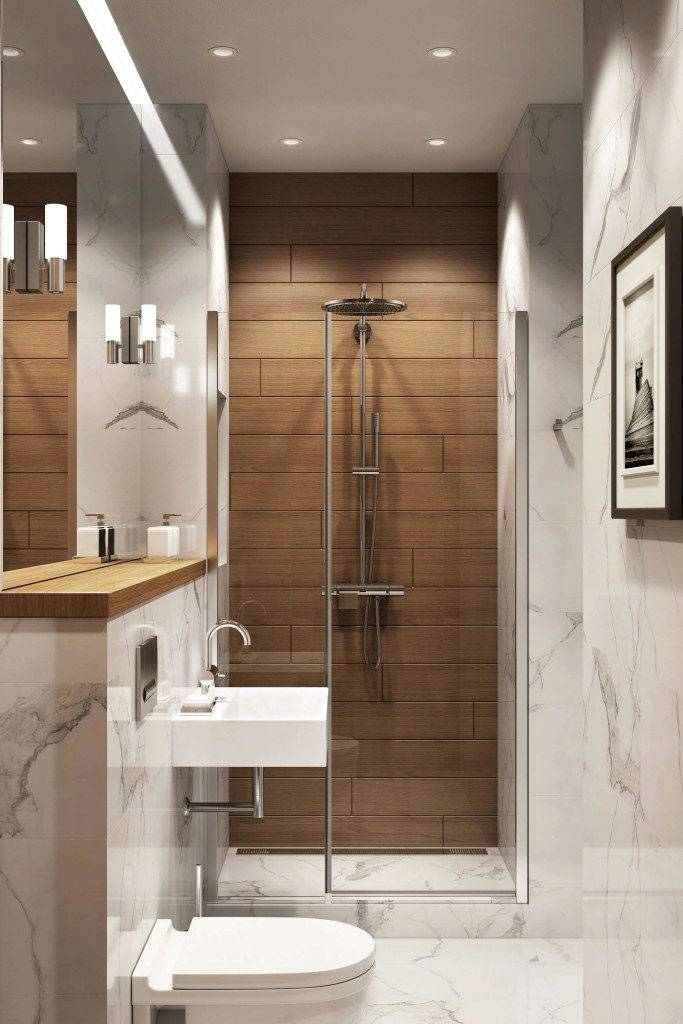 Сочетание мрамора и дерева на стенах ванной комнаты фото