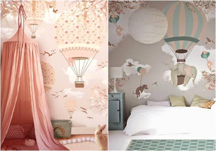 Рисунки с воздушными шарами в детской комнате фото