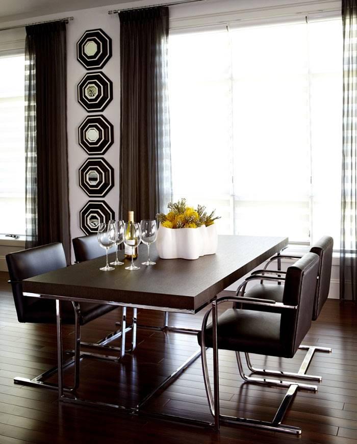 Темно-коричневых цвета в дизайне столовой комнаты фото