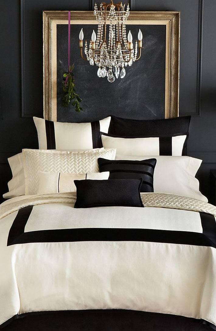 Использование черного цвета в дизайне спальни фото