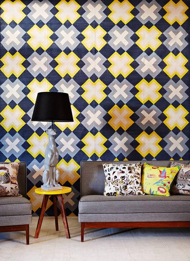 ретро стиль интерьра комнаты в серо-желтом цвете