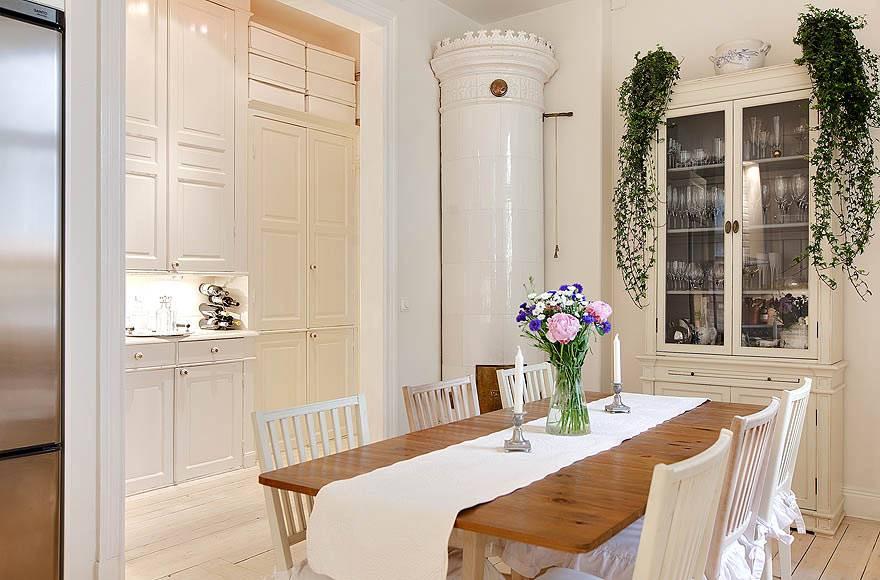 Каминная печь белого цвета в интерьере кухни фото