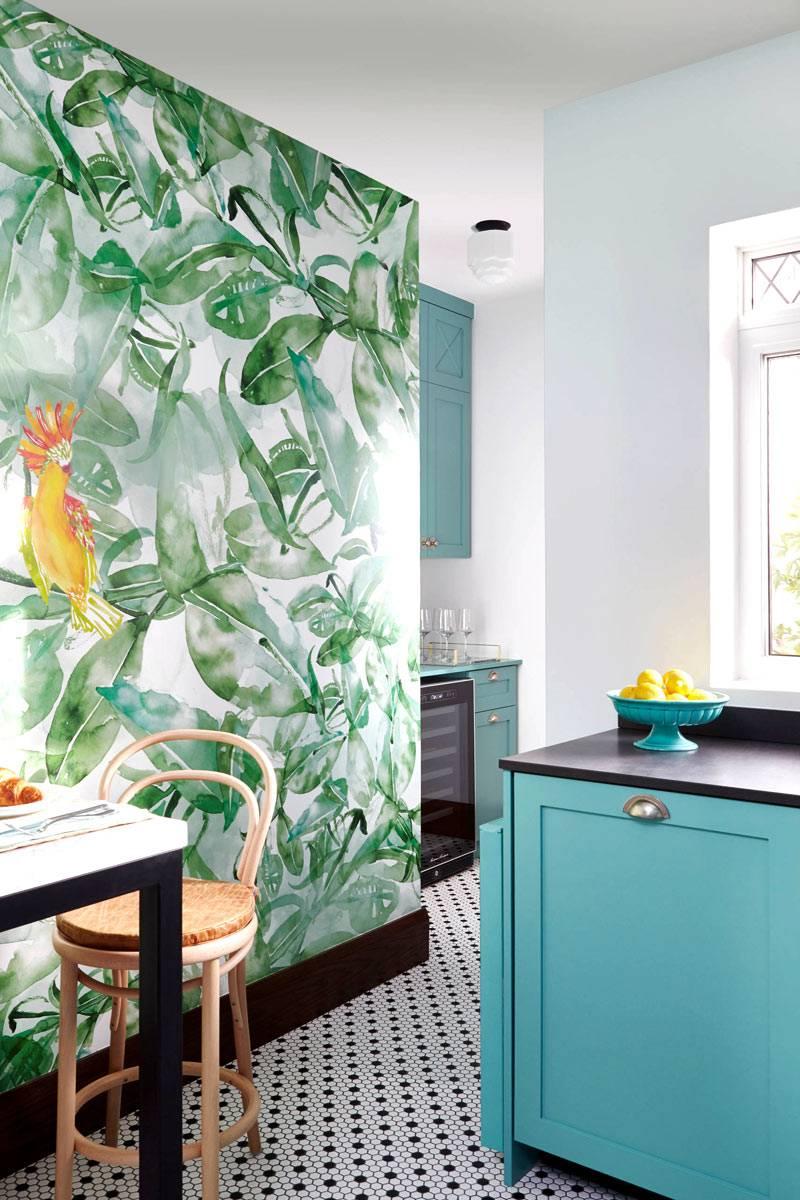 Интерьер кухни бирюзового цвета неправильной формы фото