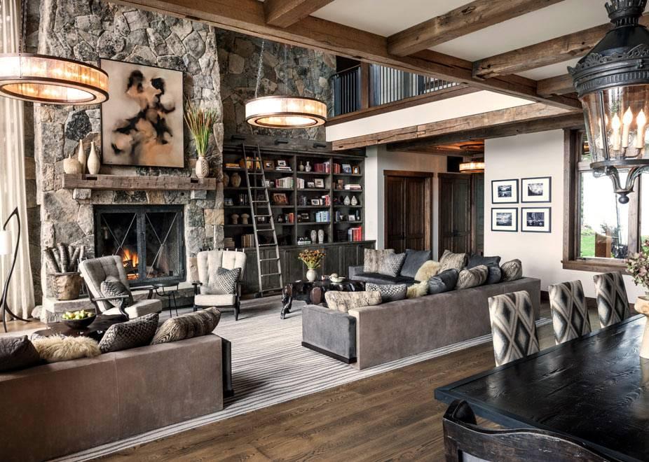 В дизайне дома много натуральных материалов: камня и дерева фото