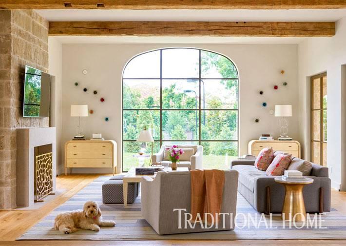 диваны и телевизор в интерьере кухни фото