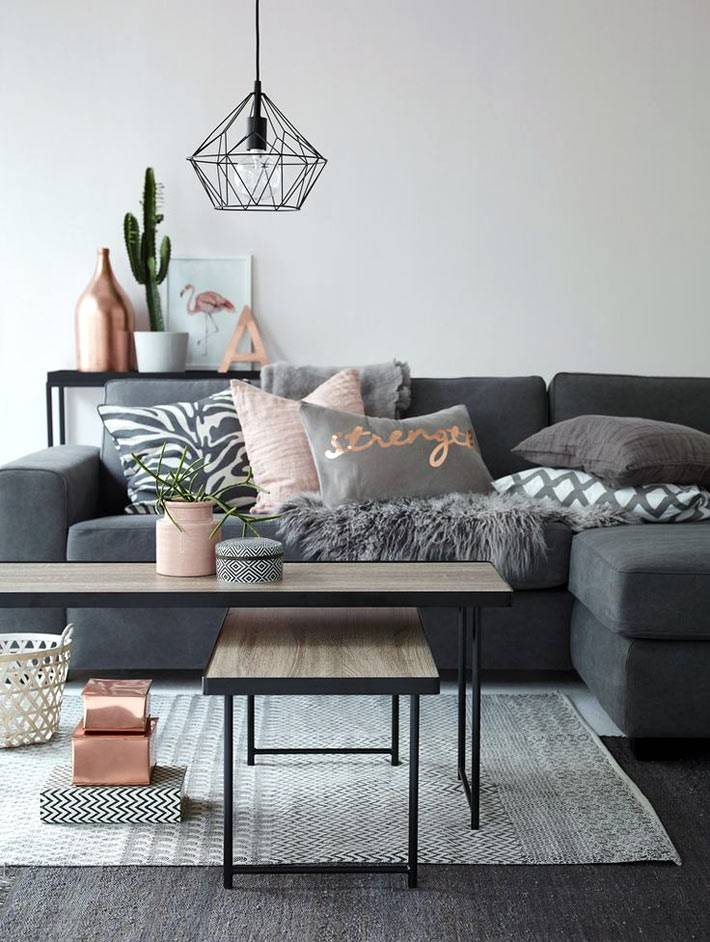 геометрические формы и серый цвет для гостиной комнаты фото