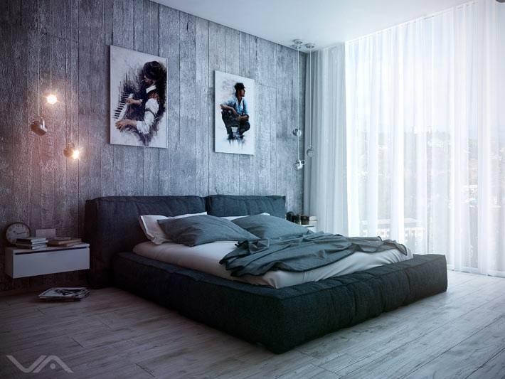 аскетичная спальня для холостяка - ничего лишнего
