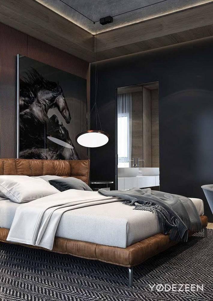 Темные цвета в дизайне интерьера спальни для мужчин