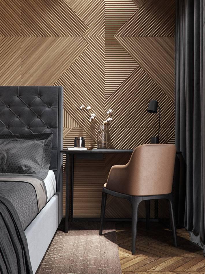 интересные деревянные панели на стене спальни холостяка