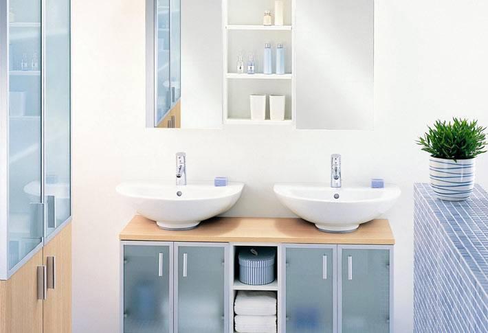 Светлые тона в дизайне ванной на два человека фото