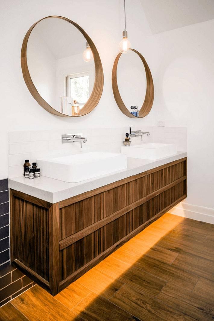 Подвесная тумба в ванной с двумя раковинами для умывания фото
