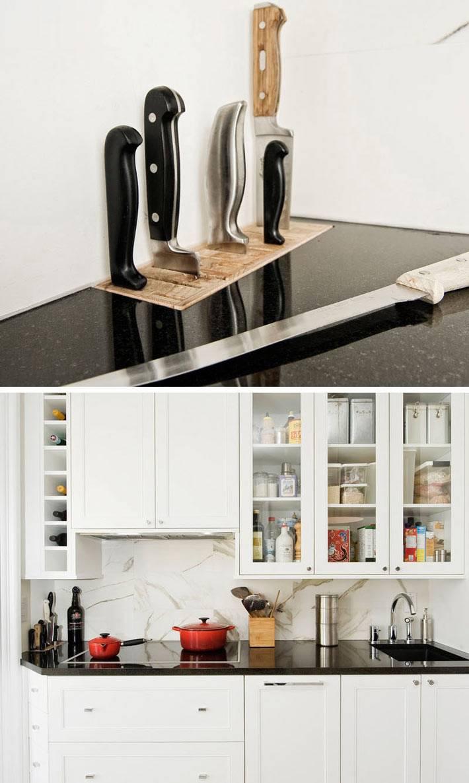 встроенная подставка для кухонных ножей дома