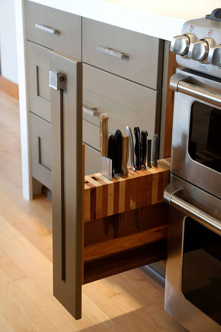 отдельный ящик для ножей на кухне фото