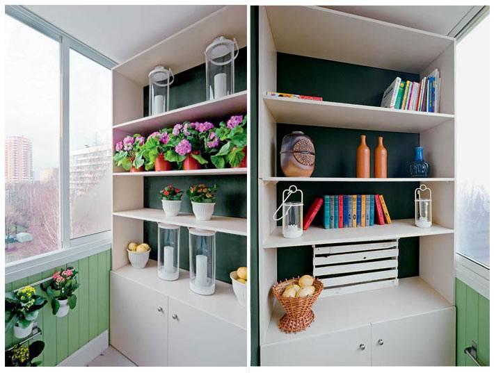 шкафы с открытыми полками на балконе фото