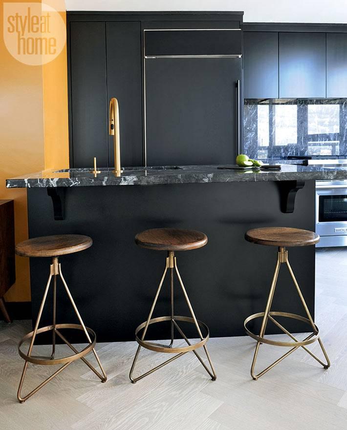 Черный дизайн кухни в стиле минимализма фото