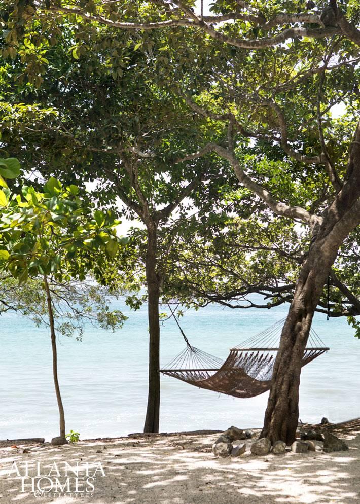 Гамак под развесистыми деревьями у моря