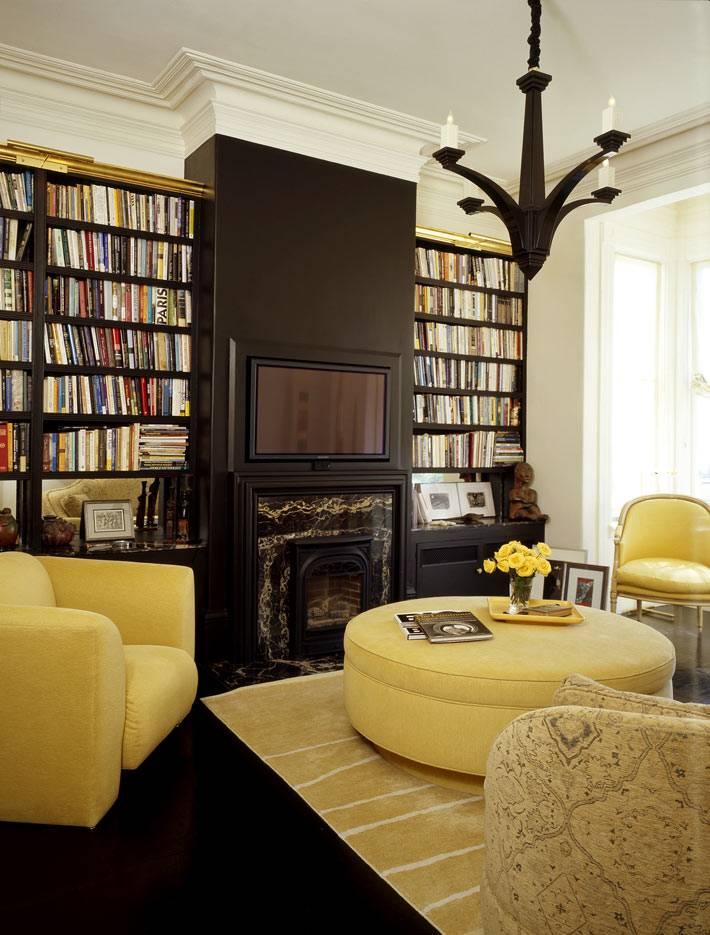 контрастные цвета - желтый и черный в интерьере одной комнаты