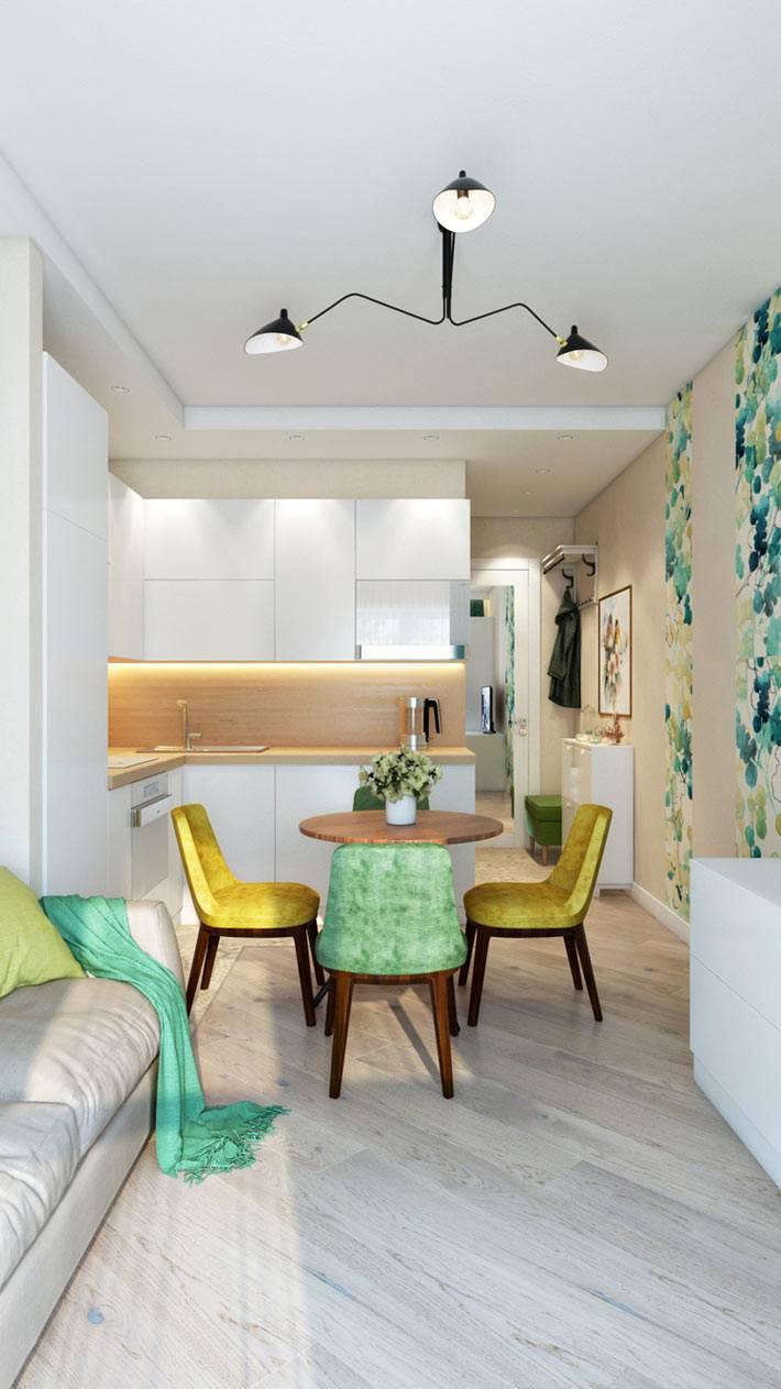 квартира-студия с объединенной кухней и комнатой