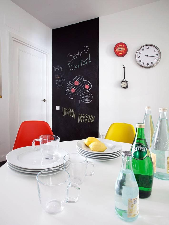 белые стены в кухне и черная меловая доска для записей