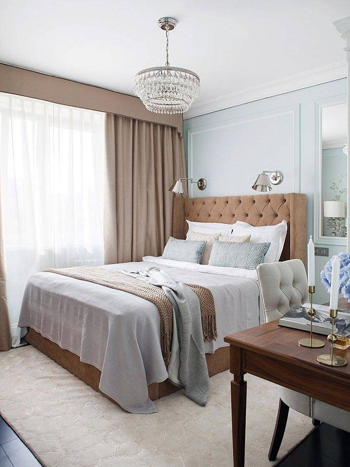 сочетание голубого и коричневого цвета в интерьере спальни фото